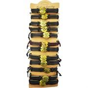 Браслет кожаный «знаки зодиака» бронза круглые 12 шт/упаковка (J-192)