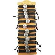 Браслет кожаный «знаки зодиака» металл круглые 12 шт/упаковка (J-93)