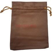 Чехол пакетик из кожзама 13x18 см коричневый 50 шт/упаковка