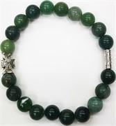 Браслет с крестом 8 мм зеленый агат (натуральный камень)