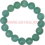 Браслет из светло-зеленого агата 12 мм (натуральный камень)