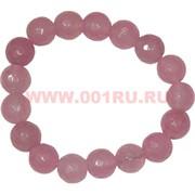 Браслет граненный 10 мм из розового кварца