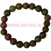 Браслет из зеленой яшмы 10 мм (натуральный камень)