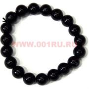 Браслет из черного агата 10 мм (натуральный камень)