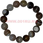 Браслет из серого агата 12 мм (натуральный камень)