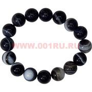 Браслет из темного агата 12 мм (натуральный камень)