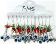 Булавка «перец + сглаз серебро» T-1015 цена за 12 шт