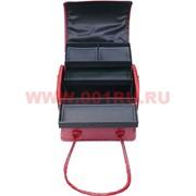Шкатулка-сумка автомат 3-ярусная красная 28*23*30