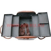 Шкатулка-сумка автомат 3-ярусная коричневая 28*23*30