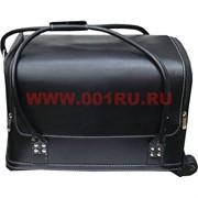 Шкатулка-чемодан на колесах 2-ярусная черная 30*25*45