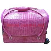 Шкатулка-чемодан на колесах 2-ярусная розовая 30*25*45