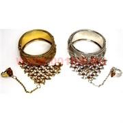 Браслеты индийские металлические с кольцом