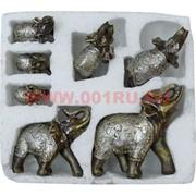 """7 слонов из полистоуна """"под серебро"""" в пенопласте, 16 шт/кор"""