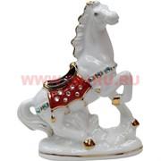 Лошадь гарцующая из фарфора (174) с попоной 14 см