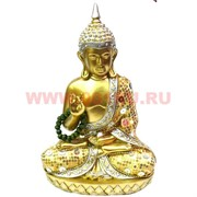 Статуэтка Будда, полистоун 25 см с четками