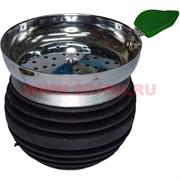 Чашка для кальяна с листиком (металл, силикон) премиум класса