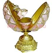 Яйцо шкатулка со стразами розовая с малой шкатулкой внутри 11,5 см