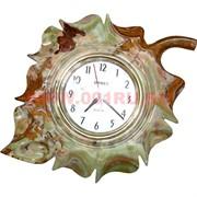 """Часы из оникса настенные """"Лист"""" 8 дюймов"""