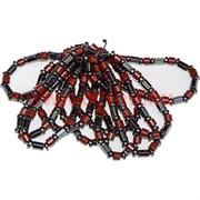 Браслет (BS-06) из гематита (цилиндрики) и красной яшмы, цена за 50