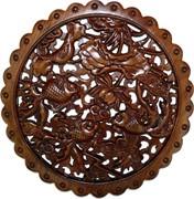 Панно настенное из сандалового дерева «Золотые рыбки» 28 см (лакированное)