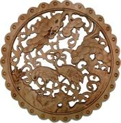 Панно настенное из сандалового дерева «Журавли» 28 см