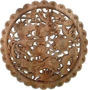 Панно настенное из сандалового дерева «Золотые рыбки» 28 см