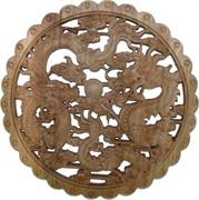 Панно настенное из сандалового дерева «Драконы» 28 см
