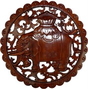 Панно настенное из сандалового дерева «Слон» 38 см (лакированное)
