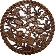 Панно настенное из сандалового дерева «Золотые рыбки» 38 см (лакированное)