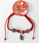 Браслет с красной ниткой «три ладошки и сглаз» цена за 120 шт