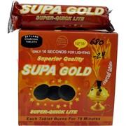 Уголь для кальяна Supa Gold 80 таблеток 40 мм быстрого разгорания (24 шт/кор)