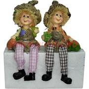 Фигурка с ножками (KL-309) мальчик и девочка с черепахами цена за пару (60 шт/кор)