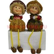 Фигурки с ножками (KL-312) мальчик и девочка в соломеных шляпах цена за пару (24 шт/кор)