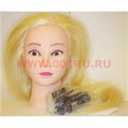 Голова «блонд» с волосами (50/50) для причесок, косичек с кронштейном