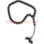 Четки мусульманские черные с серебряным узором