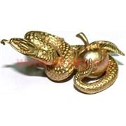 Змея с яблоком символ 2013 года из бронзы 4 см