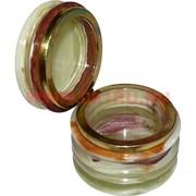 """Шкатулка из оникса """"кольца"""" (7,5 см диаметр)"""