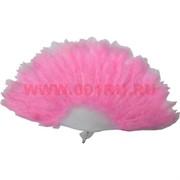 Веер ручной с перьями розовый 12 шт/уп