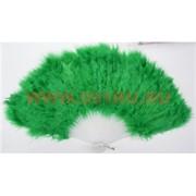 Веер ручной с перьями зеленый 12 шт/уп