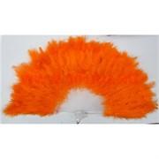 Веер ручной с перьями оранжевый 12 шт/уп