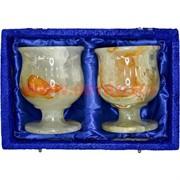 Набор 2 бокала из оникса 9,5 см в бархатной коробочке (3х4 дюйма)