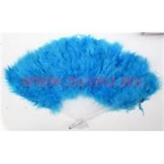 Веер ручной с перьями голубой 12 шт/уп