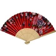 Веер бамбуковая основа + шелк (RA-V-99) цена за коробку 1000 шт, цвета в ассортименте