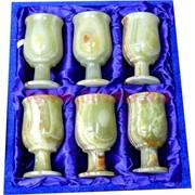 """Набор из оникса 6 бокалов 10 см (2,5х4) """"тюльпан"""" в бархатной упаковке"""