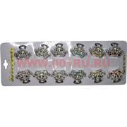 Крабики для волос металлические с цветными камешками, цена за 12 шт