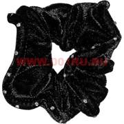 Резинка для волос бархатная 20 шт (ALI-40) черная со стразами
