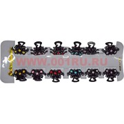 Крабики для волос металлические черные с цветными камешками, цена за 12 шт