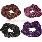Резинка для волос бархатная 24 шт (ALI-118) цветная со стразами