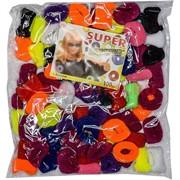 Резинки для волос (JL-286) разноцветные, цена за 2000 шт (20 уп)