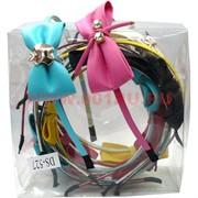 Ободок для волос с бантиком (DS-527) микс цветов цена за упаковку 12 шт